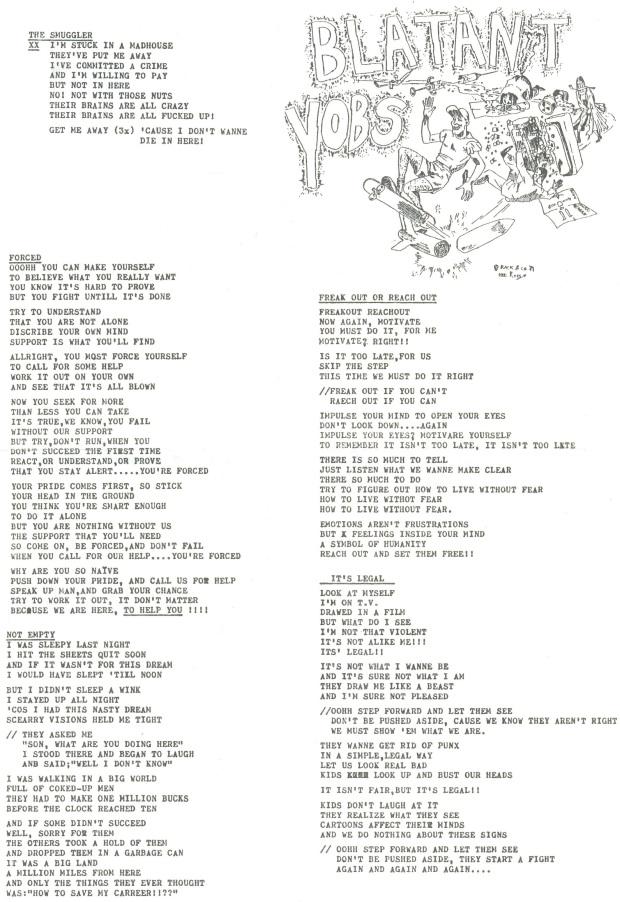 Blatant Yobs lyrics