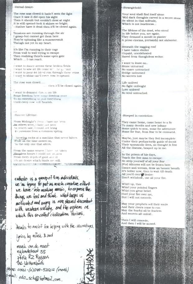 Cathode lyrics
